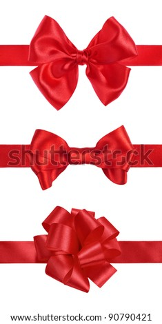 set of red gift satin ribbon bows on white background