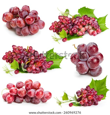 Set of red grapes isolated on white background - stock photo