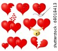 Set of red Hearts, illustration - stock photo