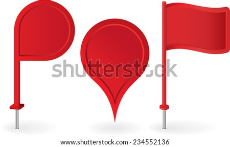 Set of red map pointers pin icons. Raster version - stock photo