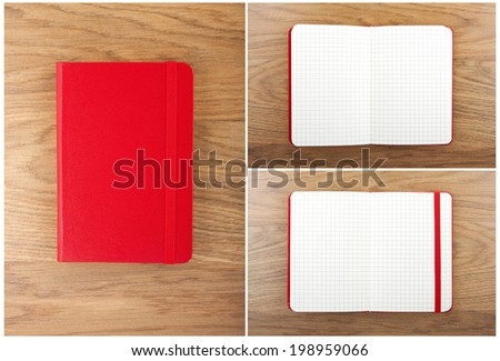 Set of red open and closed notebooks on the table - stock photo