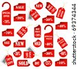 Set of red price tags and labels - stock photo