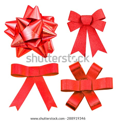 set of red ribbon bows - stock photo