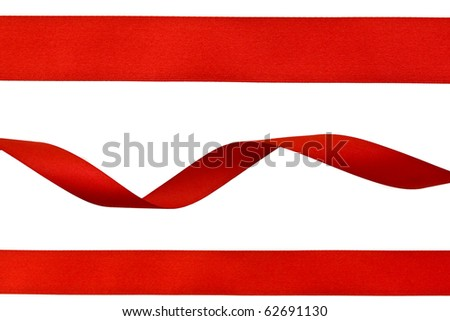 set of red ribbons isolated on white - stock photo