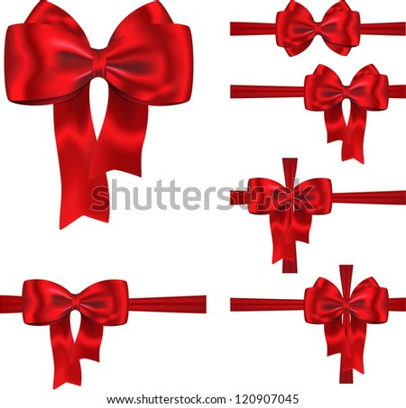 Set of red ribbons with luxurious bows for decorating gifts and cards