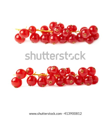 Set of Red ripe  Currant berries isolated over white background - stock photo