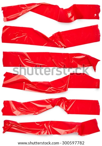 Set of red scotch tapes isolated on white background - stock photo