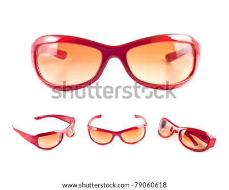 Set of red sunglasses isolated on the white background - stock photo
