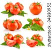 set of red tomato vegetable with cut and green leaves isolated on white background - stock photo