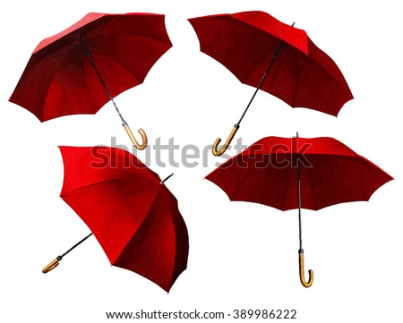 Set of red umbrellas. Digital illustration in draw, sketch style - stock photo