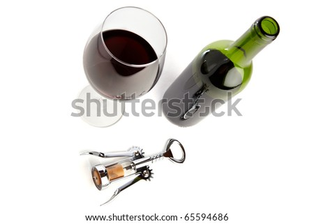 Set of red wine, glass and corkscrew, isolated on white - stock photo