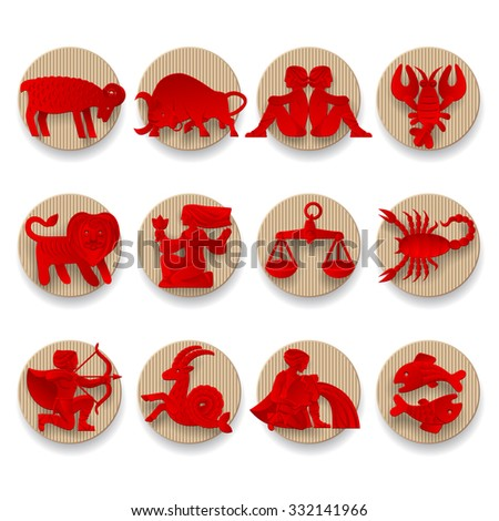 Set of red zodiacal signs with figure on beige corrugated paper circles. Original design. Contain the Clipping Path - stock photo