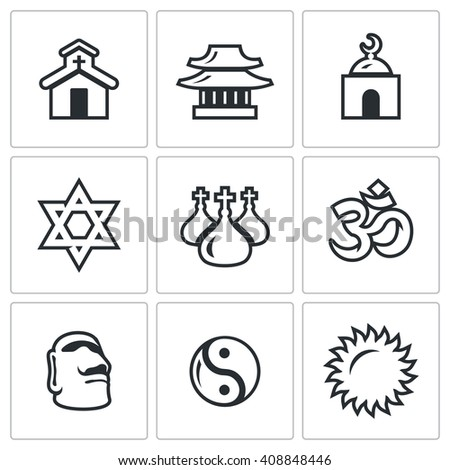Set of Religion Icons. Catholic, Buddhism, Islam, Judaism, Christianity, Hinduism, Idolatry, Taoism, Paganism.  Church, Temple, Mosque, Synagogue, Dome, Aum, Stone Idol, Yin Yang, Sun - stock photo