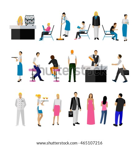 Restaurant Background With People vector set restaurant employees visitors people stock vector