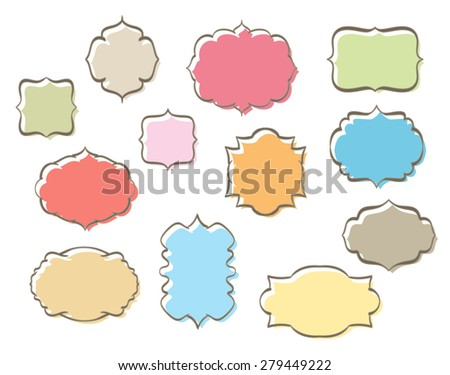 set of retro frames various colors - stock photo