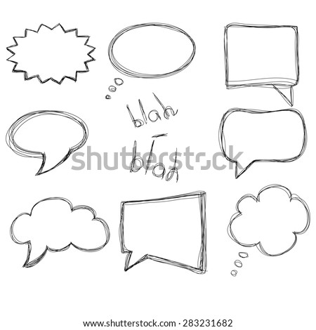 Set of retro hand drawn sketched speech bubbles, isolated on white background.