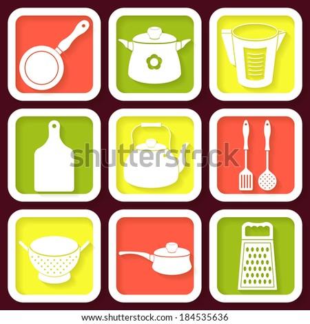 Set of 9 retro icons of kitchen utensils. Raster version - stock photo