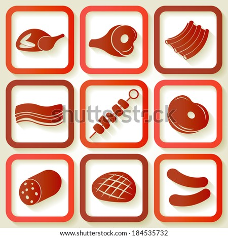 Set of 9 retro icons with meat pieces. Raster version