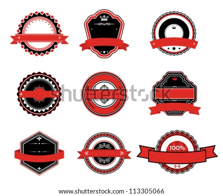 Set of retro labels in black and red colors, such a  template. Vector version also available in gallery - stock photo