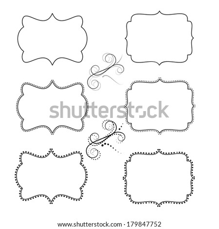 set of retro labels or frames and design elements for your events, scrapping or invitation designs on isolated white background - stock photo