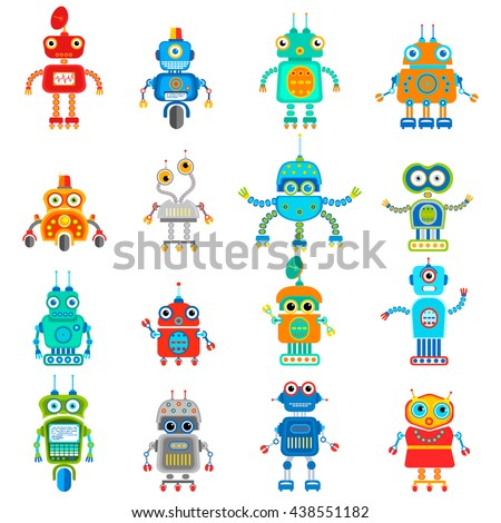 Set of retro robots in flat style, vintage cute robots. Toy robots vector