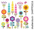 Set of retro style flowers and insects in bright colors, isolated on white. Includes clipping path included for easy isolation of elements. Great for scrap booking. See my folio for other colors. - stock vector