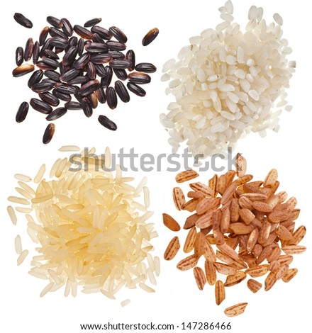set of rice pile heap close up isolated on a white background  - stock photo