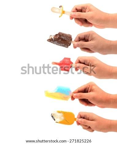 set of right hand holding Ice cream sticks isolated on white - stock photo