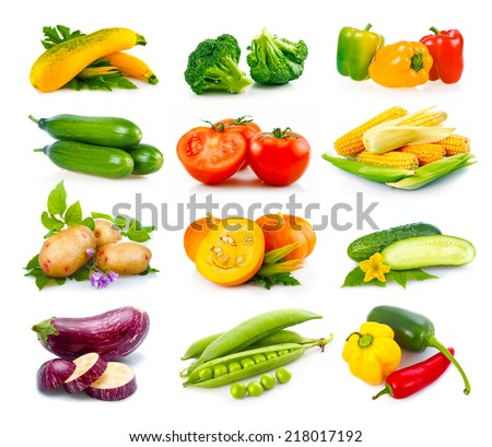 Set of ripe autumn vegetables isolated in white background - stock photo