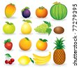 Set of ripe fruit illustrations isolated on white background - eps vector version at my gallery - stock vector