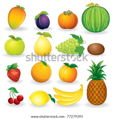 Set of ripe fruit illustrations isolated on white background - eps vector version at my gallery - stock photo