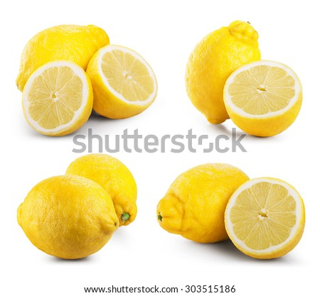 Set of ripe lemon fruits isolated on white background. Clipping Path - stock photo