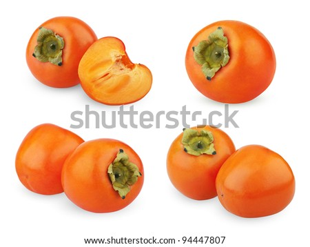 Set of ripe persimmons isolated on white background - stock photo