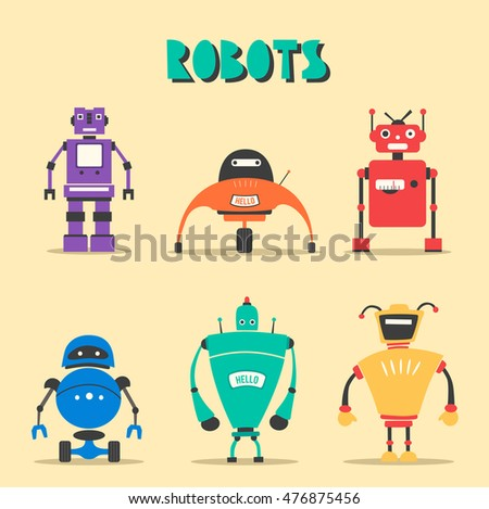 Set of robots. Vintage style. Cartoon illustration. Friendly cyborg