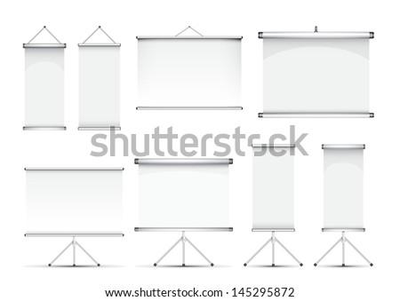 set of roll up banner illustration - stock photo