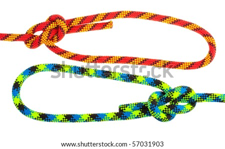 Set of rope knots on white background (isolated).