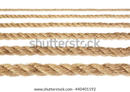 Set of rope with varying degrees of increase. Isolated on white background.