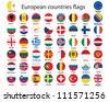 set of round buttons with flags of Europe illustration - stock photo