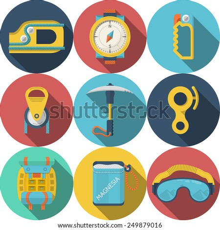 Set of round colored flat icons for rappelling or mountaineering or climbing equipment on white background. Long shadow design - stock photo