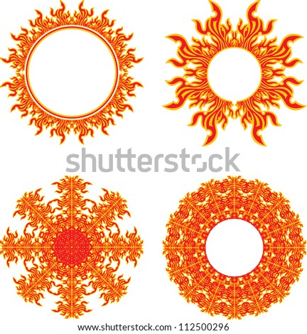 set of round fiery symbols of the sun
