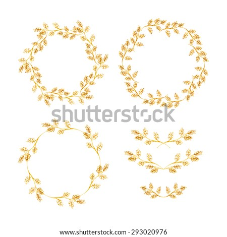 Set of round frames and vignettes made of watercolor herbs. Hand-painted watercolor design elements isolated on white. Perfect for greetings, invitations, web design. Raster illustration. - stock photo