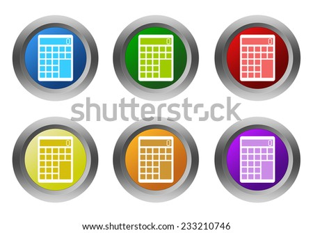 Set of rounded colorful buttons with calculator symbol in blue, green, yellow, red and orange colors - stock photo