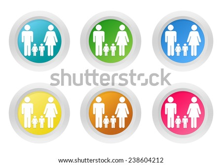 Set of rounded colorful buttons with family symbol in blue, green, yellow, pink and orange colors - stock photo