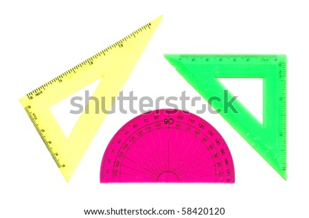 Set of rulers isolated over white - stock photo