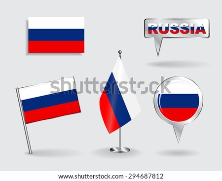 Set of Russian pin, icon and map pointer flags. Raster version - stock photo
