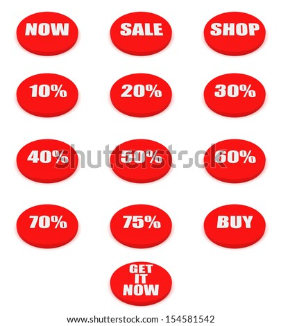 Set of sale and discount buttons isolated on white