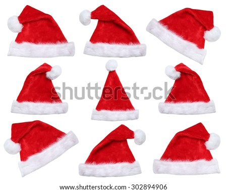 Set of Santa Claus hats on Christmas in winter isolated on a white background