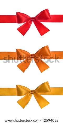 set of satin ribbon bow on white background