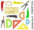 set of school instruments. Protractor, compass, protractor and a knife.  illustration. - stock photo