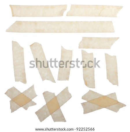 Set of scotch tape slices isolated on white background - stock photo